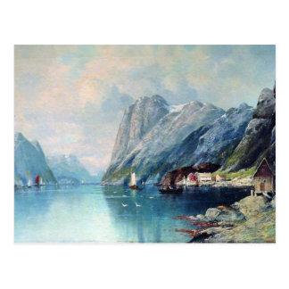 Carte Postale Fjord dans la peinture de la Norvège par Lev