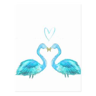 Carte Postale Flamants pour aquarelle bleus avec le coeur