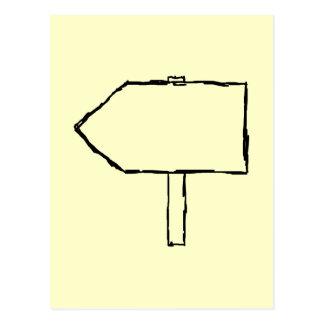 Carte Postale Flèche de poteau indicateur. Noir et crème