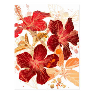 Carte Postale Fleur de ketmie - peinture 2 d'aquarelle