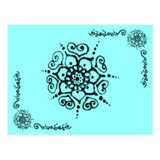 Carte Postale Fleur de l'amour (henné) (turquoise)