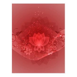 Carte Postale Fleur de Lotus rouge
