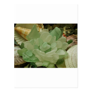 Carte Postale Fleur en verre de mer verte