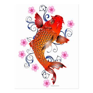 Carte Postale Fleur orientale de carpe de poissons de Koi