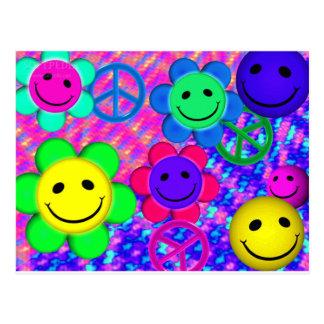 Carte Postale Fleur Smilies de paix