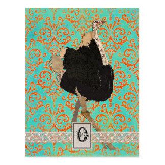 Carte postale fleurie de monogramme d'autruche