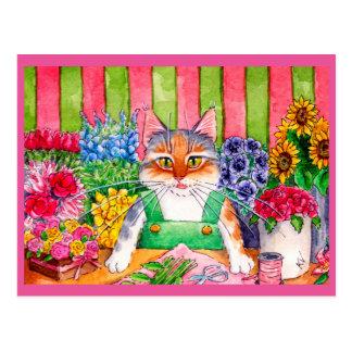 Carte Postale Fleuriste mignon d'art de chat