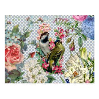Carte Postale Fleurs colorées d'oiseau vintage de pois