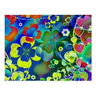 Carte Postale Fleurs de vert bleu