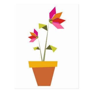 Carte Postale fleurs d'origami dans un pot