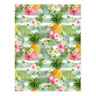 Carte Postale Fleurs et ananas tropicaux sur les rayures 2 de