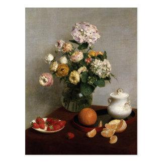 Carte Postale Fleurs et fruit par Henri Fantin-Latour