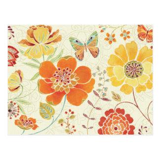 Carte Postale Fleurs et papillons colorés