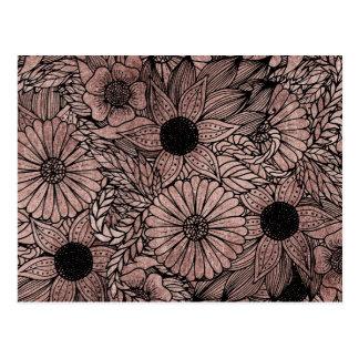 Carte Postale Fleurs florales et feuille roses d'or dessinant le