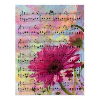 Carte Postale Fleurs girly à la mode mignonnes de Gerbera de