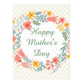 Carte Postale Fleurs heureuses de ressort du jour de mère