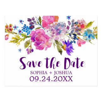 Carte Postale Fleurs roses et bleues pourpres épousant des