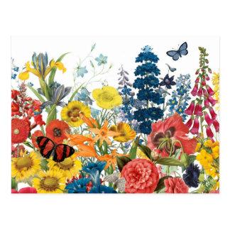 Carte Postale fleurs vintages modernes
