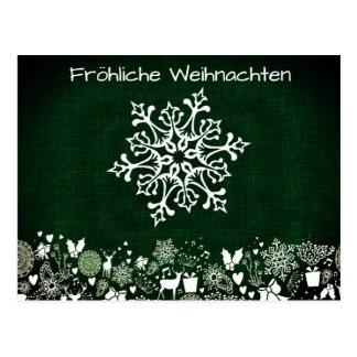 Carte Postale Flocon de neige blanc sur Fröhliche vert