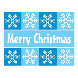 Carte Postale Flocons de neige de Noël bleus