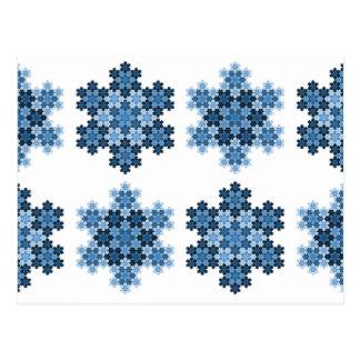 Carte Postale Flocons de neige en mosaïque de Koch