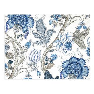 Carte Postale Floral bleu scintillant sur le blanc d'hiver