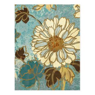 Carte Postale Floral décoratif dans bleu et blanc