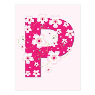 Carte postale florale assez rose initiale du