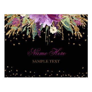 Carte postale florale d'améthyste de scintillement