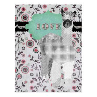 Carte postale florale d'amour d'alpaga