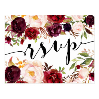 Carte postale florale de Bourgogne Marsala RSVP