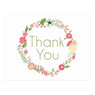 Carte postale florale de fantaisie de Merci