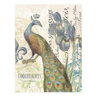 Carte postale florale de paon français vintage