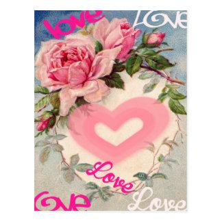 carte postale florale mignonne, amour