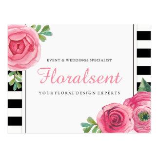 Carte postale florale moderne en or rose