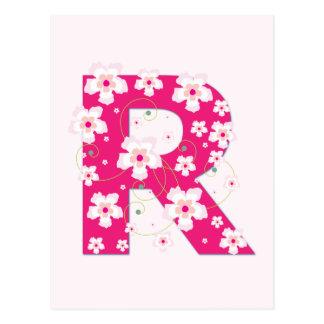 Carte postale florale rose initiale du monogramme