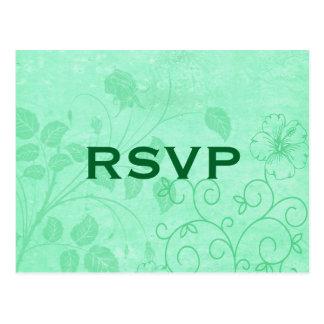 Carte postale florale verte du remous RSVP