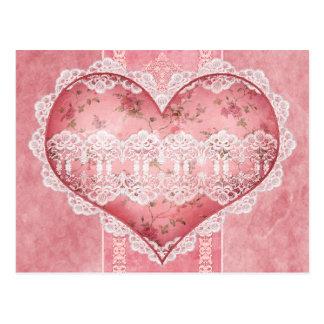 Carte postale florale victorienne de coeur d'album