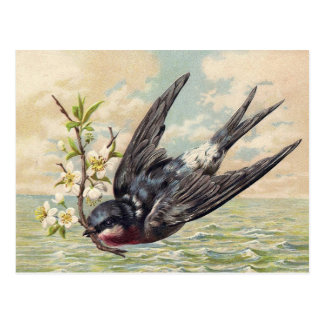Carte Postale Flying swallow with plus flower twig