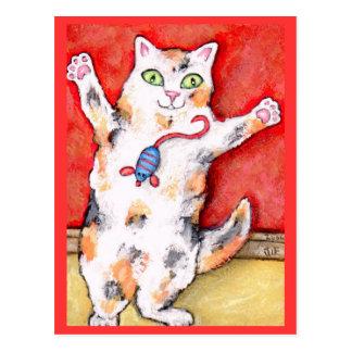 Carte postale folle par cataire de chat de calicot
