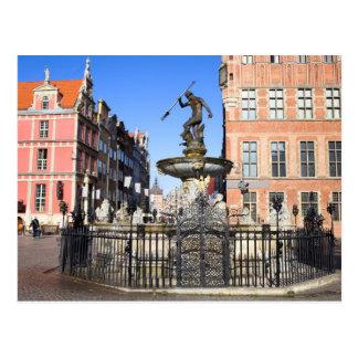 Carte Postale Fontaine de Neptune dans la ville de Danzig