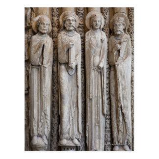 Carte Postale fontes des statues de la façade de Chartres