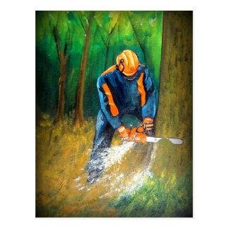 Carte Postale Forestier d'arboriste de chirurgien d'arbre