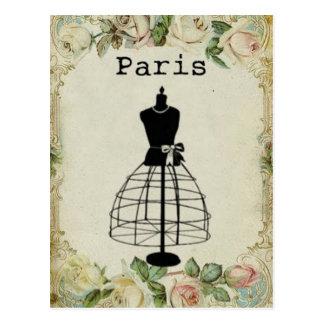 Carte Postale Forme vintage de robe de mode de Paris