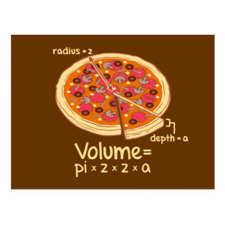 Carte Postale Formule mathématique = Pi*z*z*a de volume de pizza