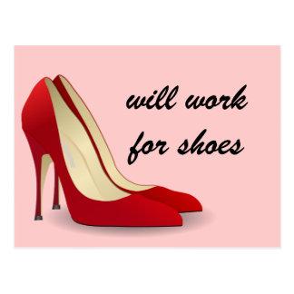 Carte Postale Fortement motivé : Travaillera pour des chaussures
