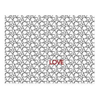 """Carte Postale """"Fou, motif de typographie d'amour"""" dans le blanc"""