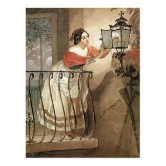 Carte Postale Foudre italienne de femme de Karl Bryullov- une
