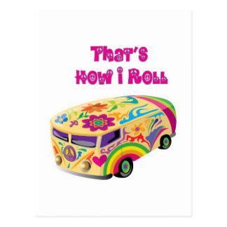 Carte Postale fourgon hippie rétro comment je roule