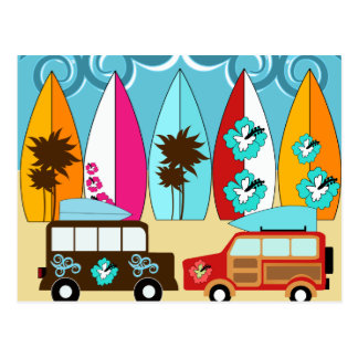Carte Postale Fourgons hippies surfants sans valeur de plage de